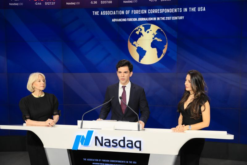The Association of Foreign Correspondents in the United States recently had the privilege of being the honorary guest at NASDAQ's Closing Bell Ceremony in Times Square.
