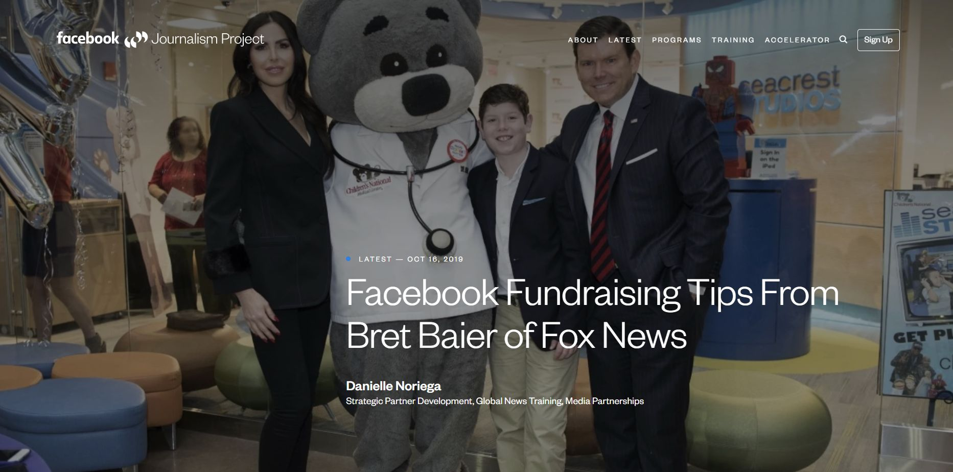 The editor of CCO Magazine would like to draw readers' attention to the article published by the Facebook Journalism Project. Facebook Fundraising Tips From Bret Baier of Fox News.