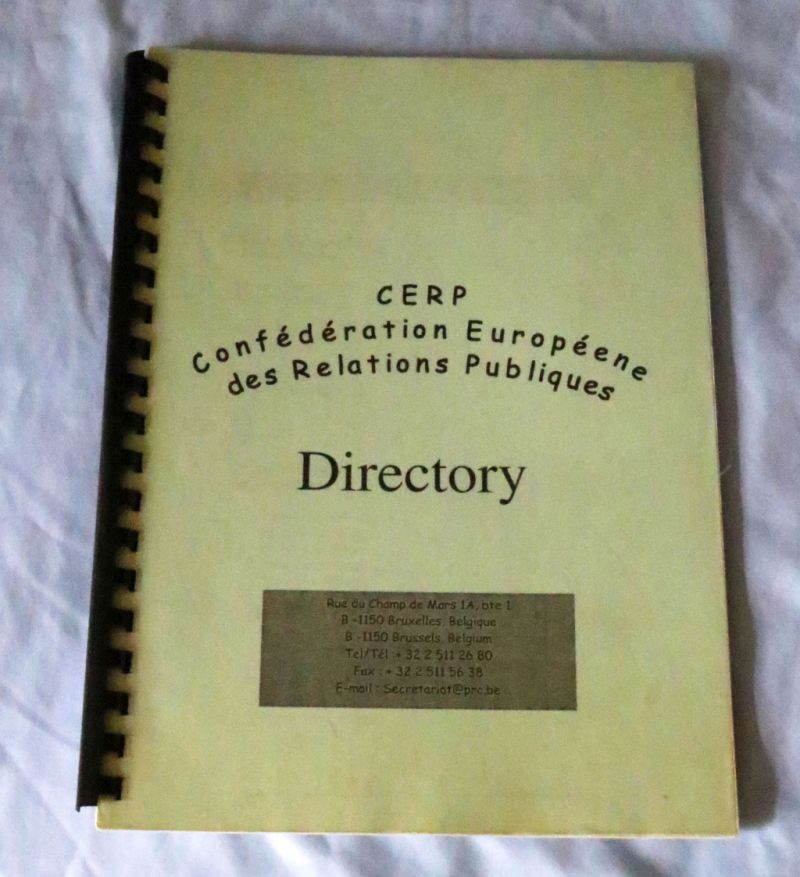 A new item in the museum is the CERP Directory, published in 1998. This book not only a simple list of CERP membership, the European leaders of the Public Relations profession and presents of the European Public Relations organizations and the member countries of CERP, but also contains important professional papers.